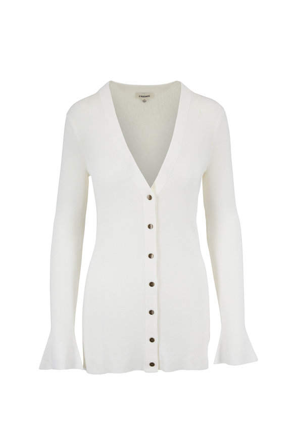 L'Agence Lucas White Ribbed Long Button Front Cardigan