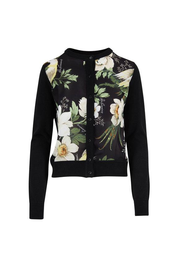Carolina Herrera Black Silk & Cotton Floral Button Front Cardigan