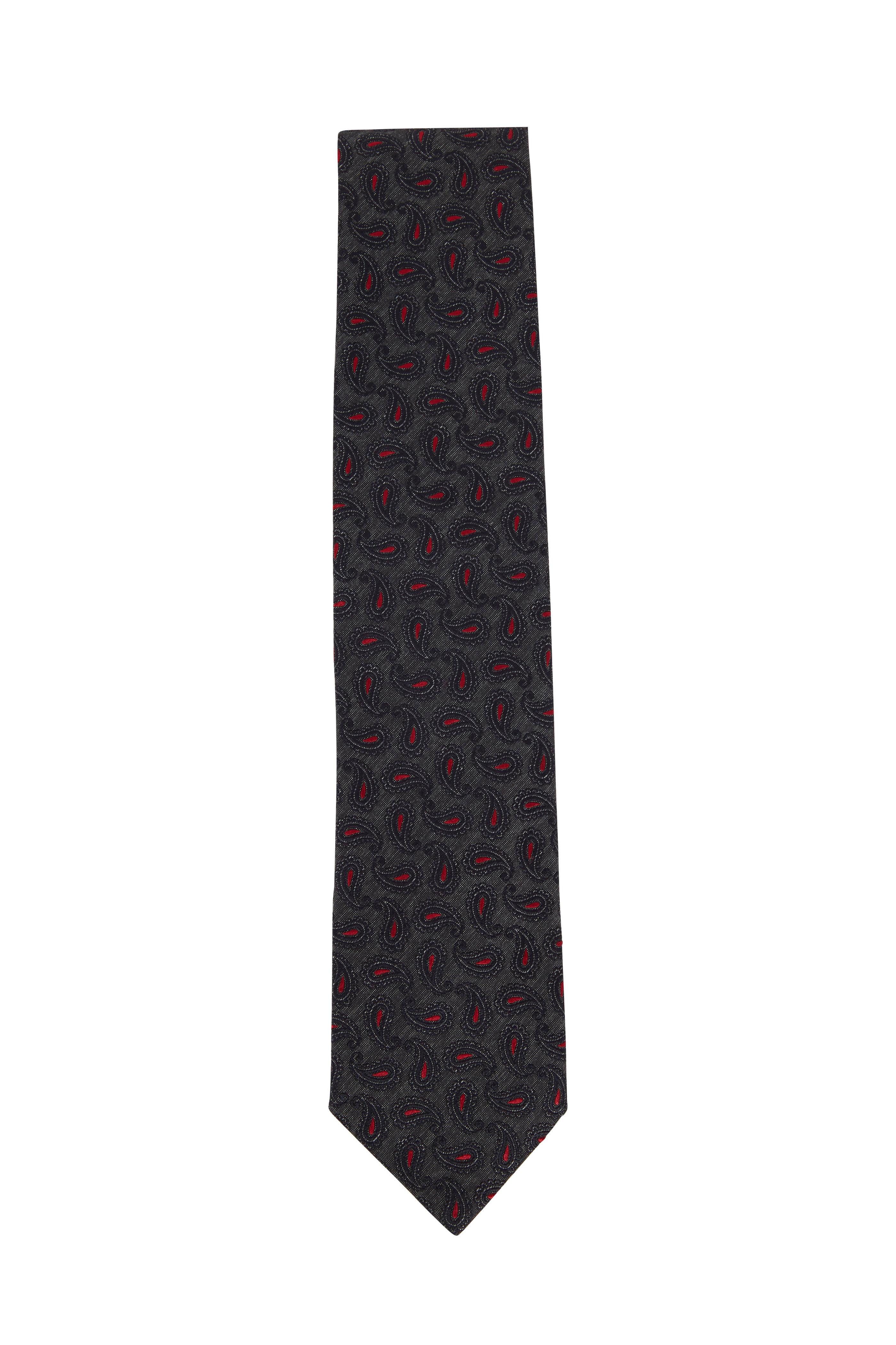 b2302cf4e7 Ermenegildo Zegna - Dark Gray & Red Paisley Silk Necktie | Mitchell ...