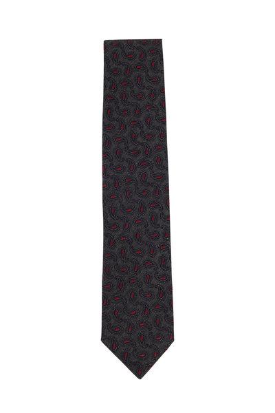 Ermenegildo Zegna - Dark Gray & Red Paisley Silk Necktie