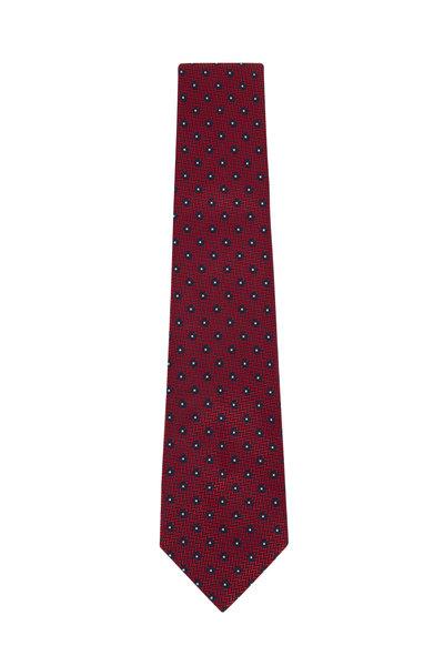 Ermenegildo Zegna - Red & Navy Blue Geometric Silk Necktie
