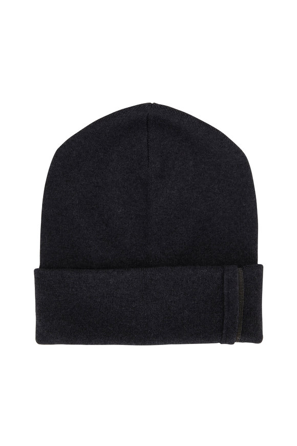 Brunello Cucinelli Exclusively Ours! Onyx Cashmere & Monili Tab Hat