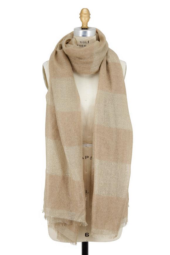 Brunello Cucinelli Farro Cashmere, Silk & Mohair Lurex Stripe Scarf