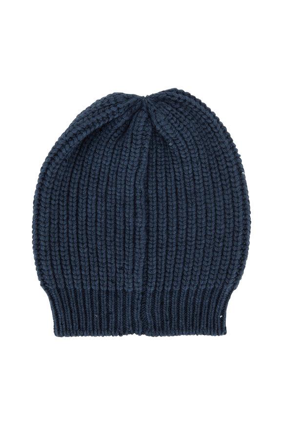 Brunello Cucinelli Lagoon Cashmere Paillette English Rib Hat