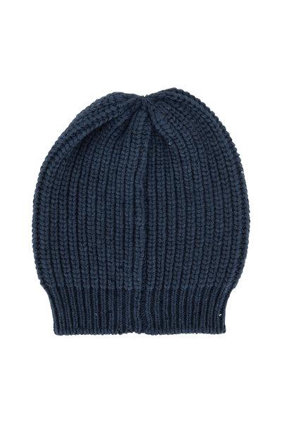 Brunello Cucinelli - Lagoon Cashmere Paillette English Rib Hat
