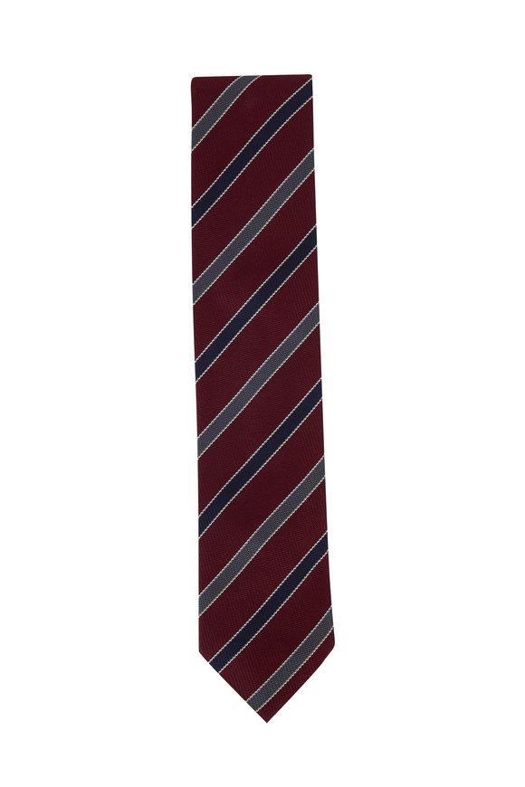 Eton Burgundy & Navy Blue Diagonal Striped Silk Necktie