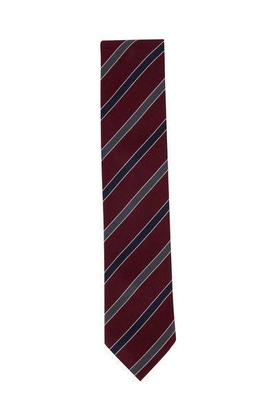 Eton - Burgundy & Navy Blue Diagonal Striped Silk Necktie
