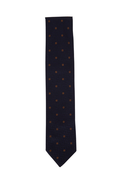 Eton - Navy Blue Dot Silk Necktie