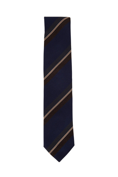 Eton - Navy Blue Striped Silk Necktie