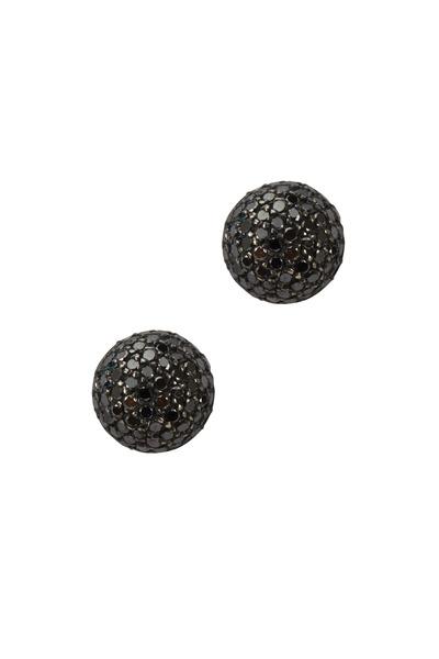 Yossi Harari - Vera Gold & Silver Black Diamond Stud Earrings