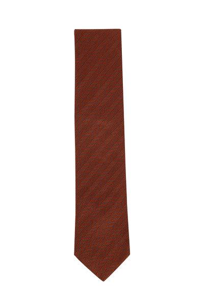 Eton - Orange Tonal Herringbone Silk Necktie