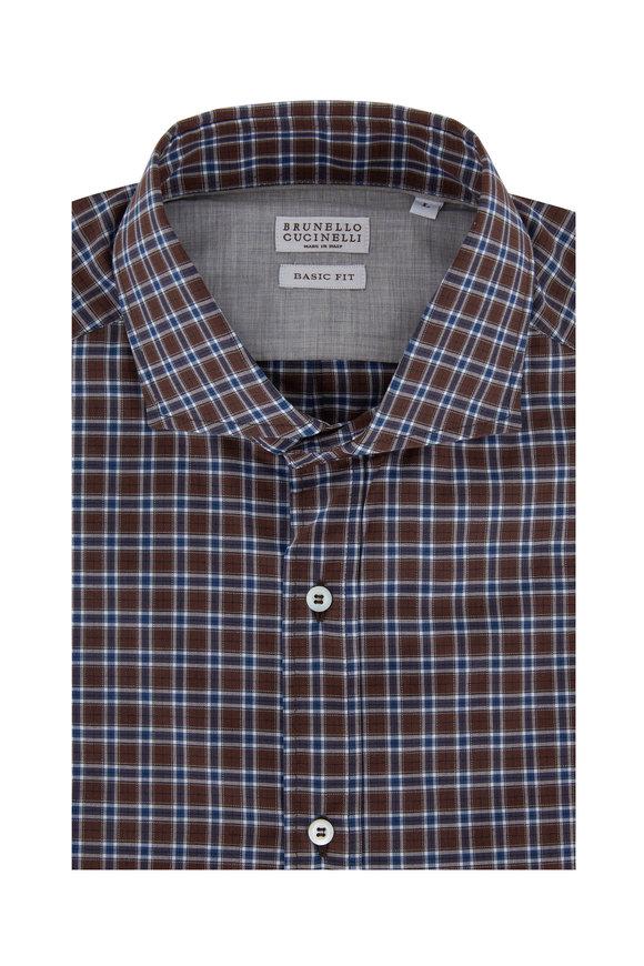 Brunello Cucinelli Brown & Navy Blue Plaid Basic Fit Sport Shirt