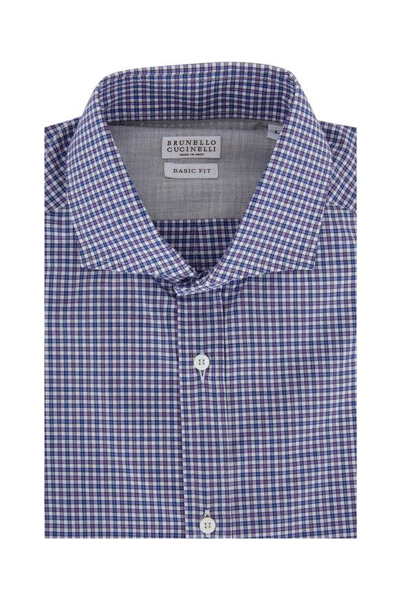 Brunello Cucinelli Navy Blue & Purple Check Basic Fit Sport Shirt
