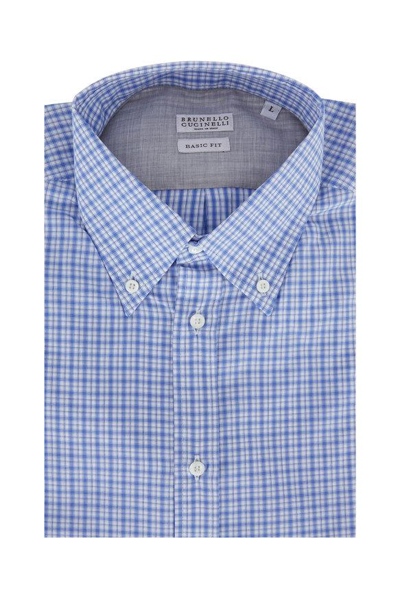 Brunello Cucinelli Light Blue Plaid Basic Fit Sport Shirt