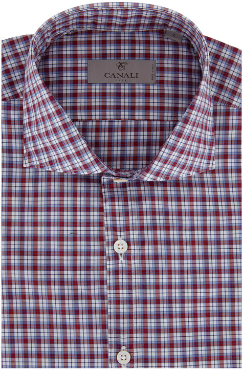 Canali Burgundy Plaid Modern Fit Sport Shirt