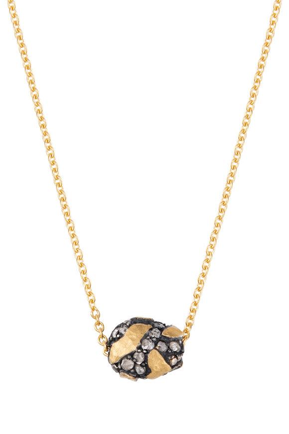 Yossi Harari Helen Yellow Gold & Silver Diamond Bead Necklace