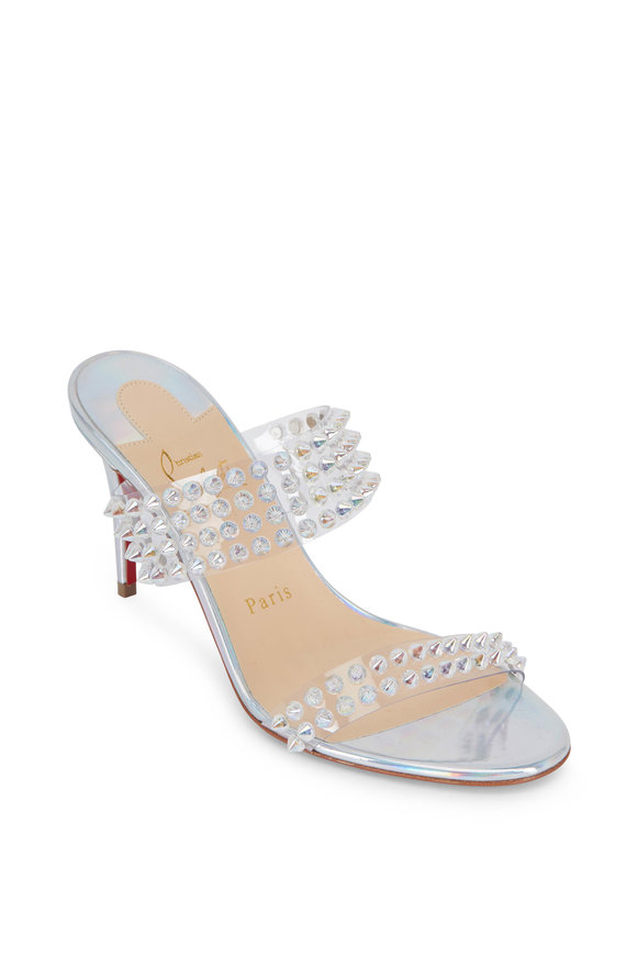 Christian Louboutin Spikes Silver Leather & PVC Two-Band Mule, 85mm
