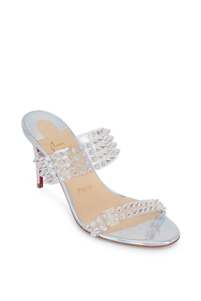Christian Louboutin - Spikes Silver Leather & PVC Two-Band Mule, 85mm