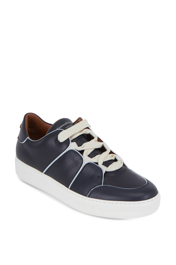 Ermenegildo Zegna Tizano Navy Blue Leather Lace-Up Sneaker