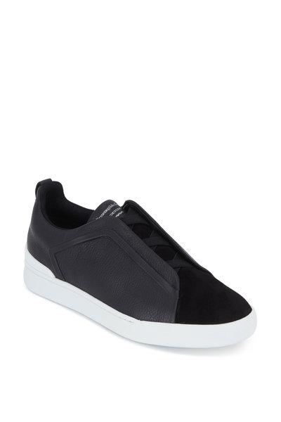 Ermenegildo Zegna - Triple Stitch Black Leather & Suede Sneaker