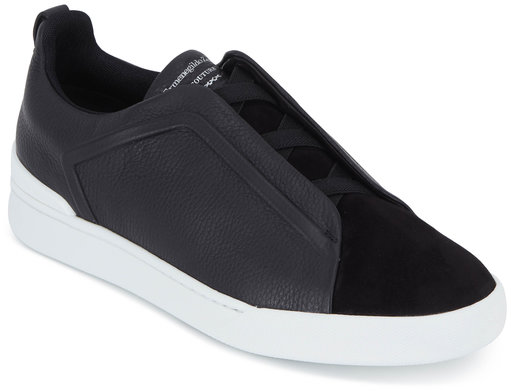 Ermenegildo Zegna Triple Stitch Black Leather & Suede Sneaker