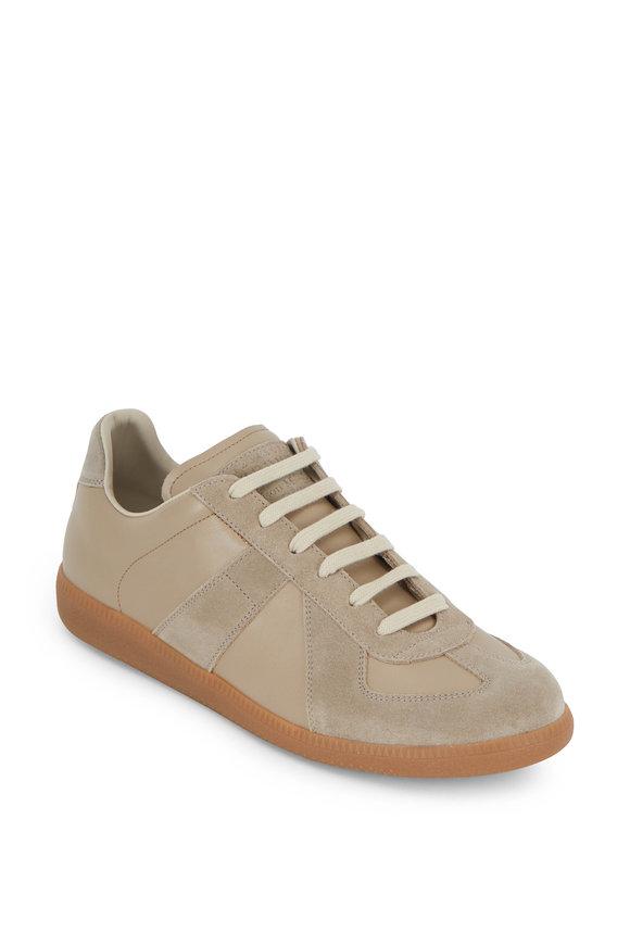 Maison Margiela Replica Beige Leather & Suede Low Top Sneaker