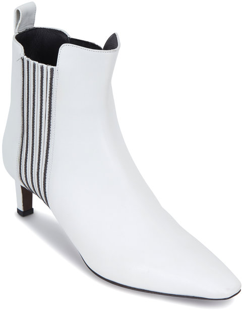 Brunello Cucinelli White Leather Monili Side Ankle Bootie, 55mm