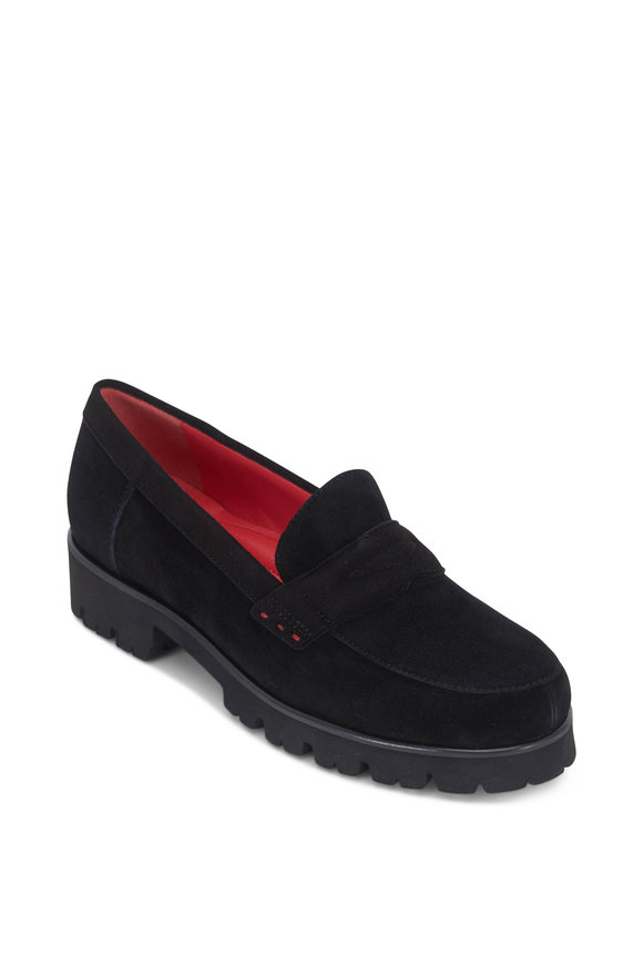 Pas de Rouge Marta Black Suede Lug Sole Penny Loafer