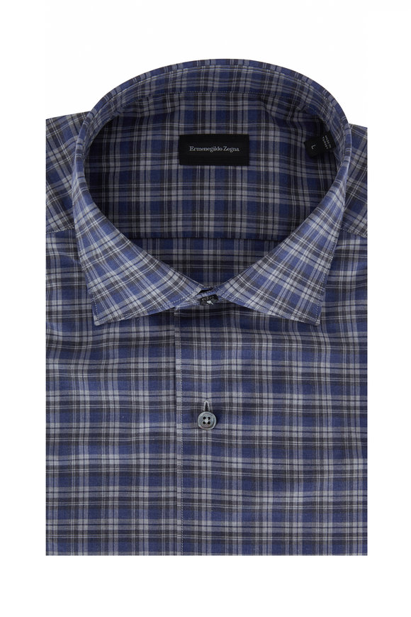 Ermenegildo Zegna Blue & Gray Plaid Classic Fit Sport Shirt
