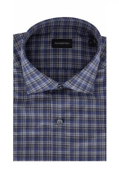 Ermenegildo Zegna - Blue & Gray Plaid Classic Fit Sport Shirt