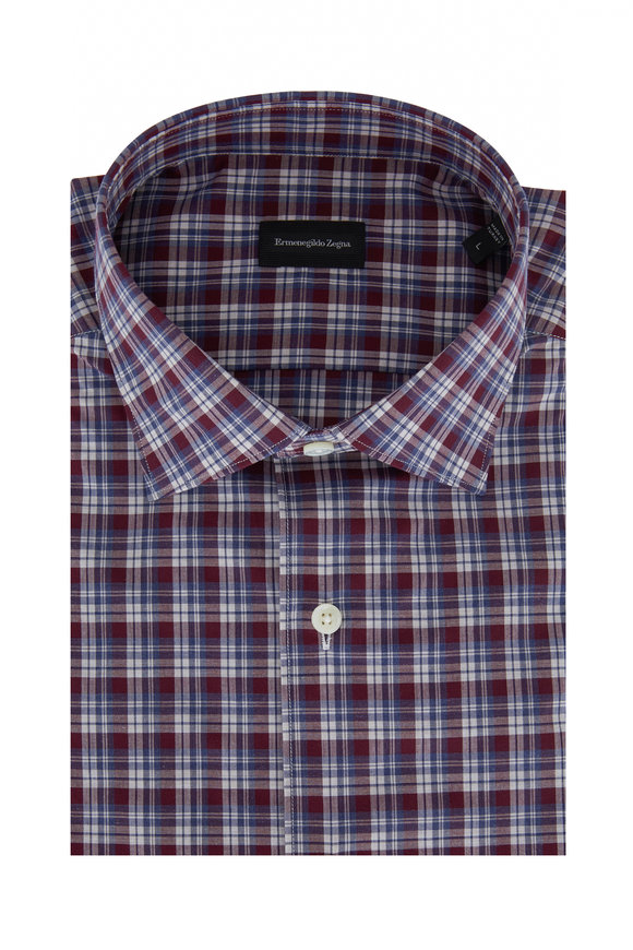 Ermenegildo Zegna Burgundy Plaid Classic Fit Sport Shirt