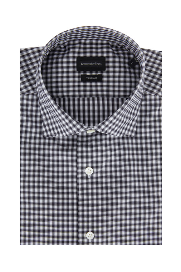 Ermenegildo Zegna Black & White Check Classic Fit Sport Shirt