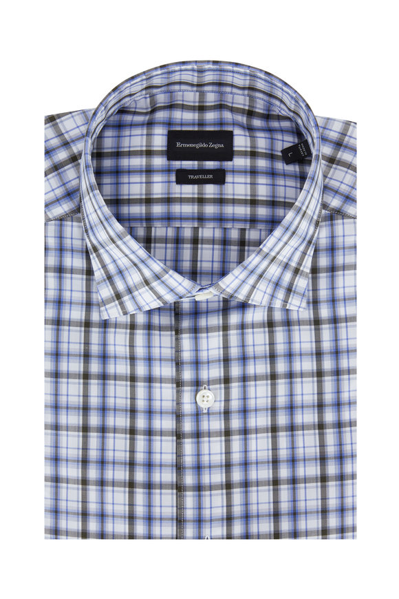Ermenegildo Zegna Blue & Hunter Green Plaid Classic Fit Sport Shirt