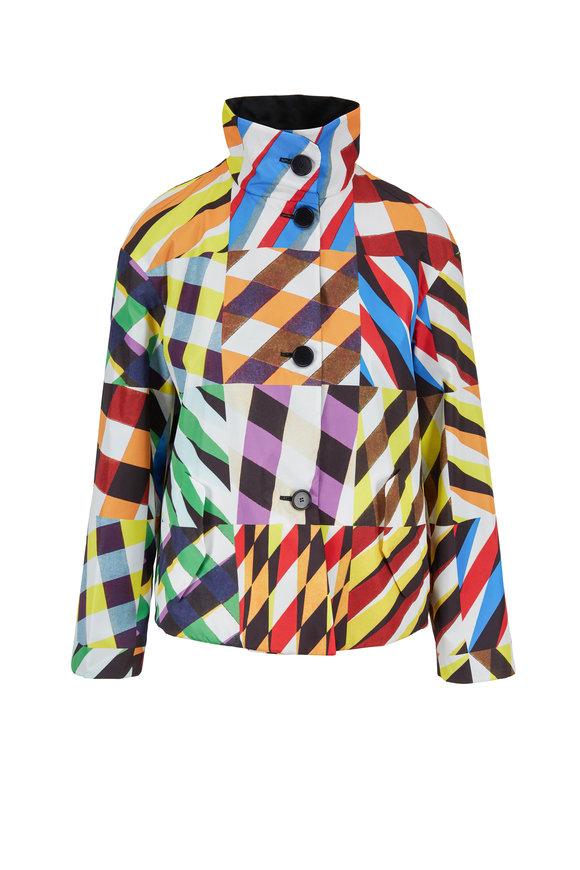 Akris Punto Patchwork Multicolor Nylon Reversible Jacket