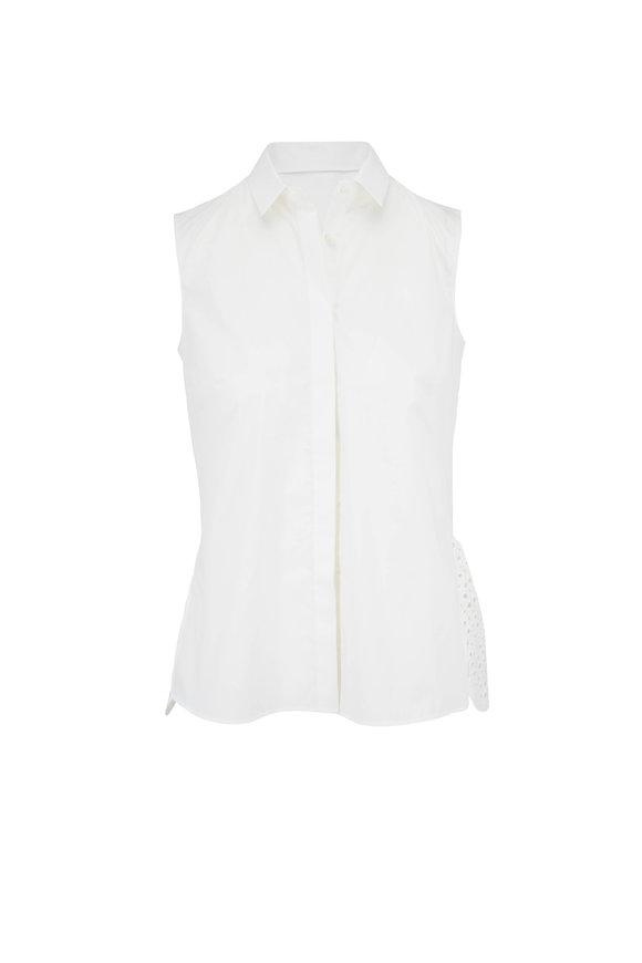 Akris Punto Cream Cotton Lace Peplum Back Blouse