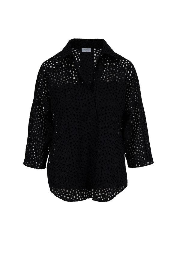 Akris Punto Kimoni Black Cotton Dot Lace Blouse