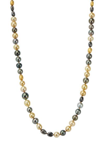Yossi Harari - 24K Gold & Silver Pearl Diamond Roxanne Necklace