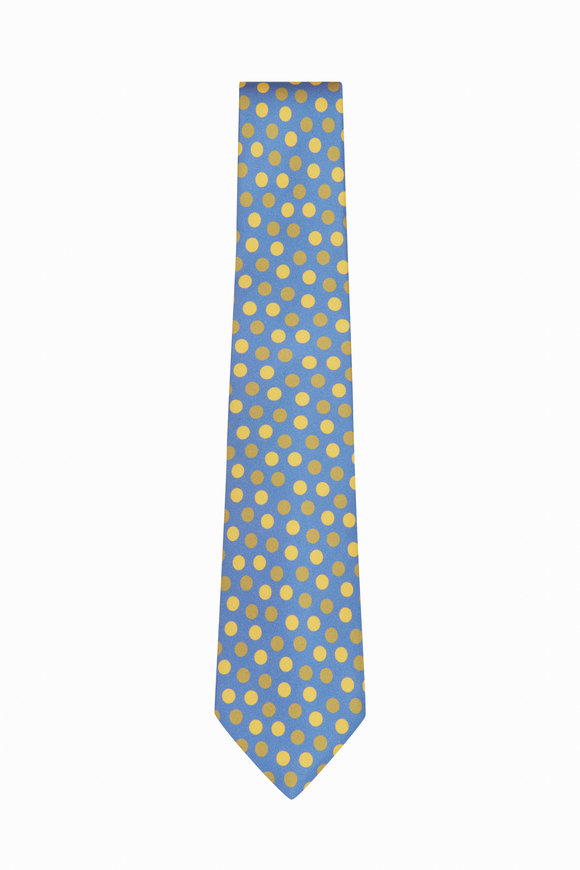 Kiton Blue & Yellow Silk Dot Necktie