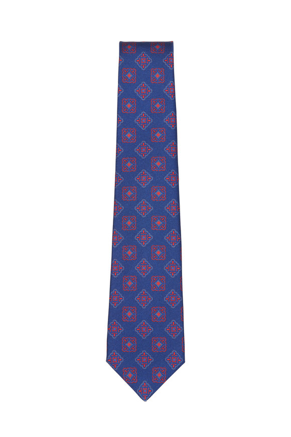 Kiton Navy & Red Silk Medallion Necktie