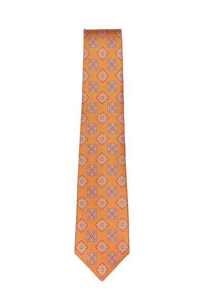 Kiton - Orange & Multicolor Wool Medallion Necktie