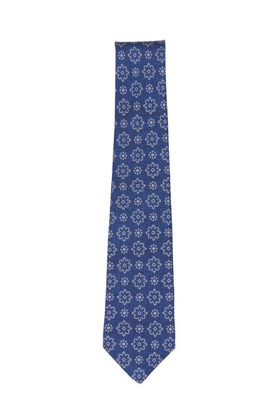 Kiton - Navy & Tan Silk Flower Necktie