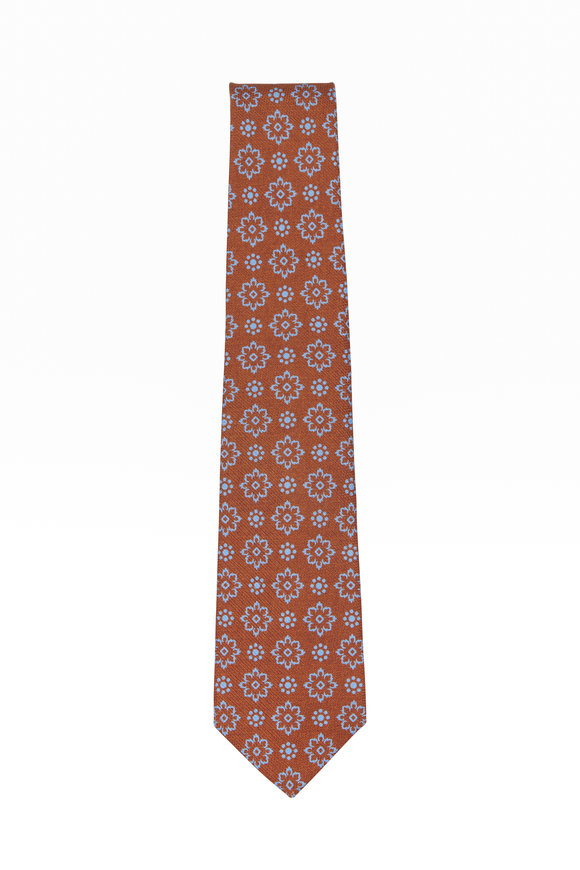 Kiton Brown & Blue Silk Flower Necktie