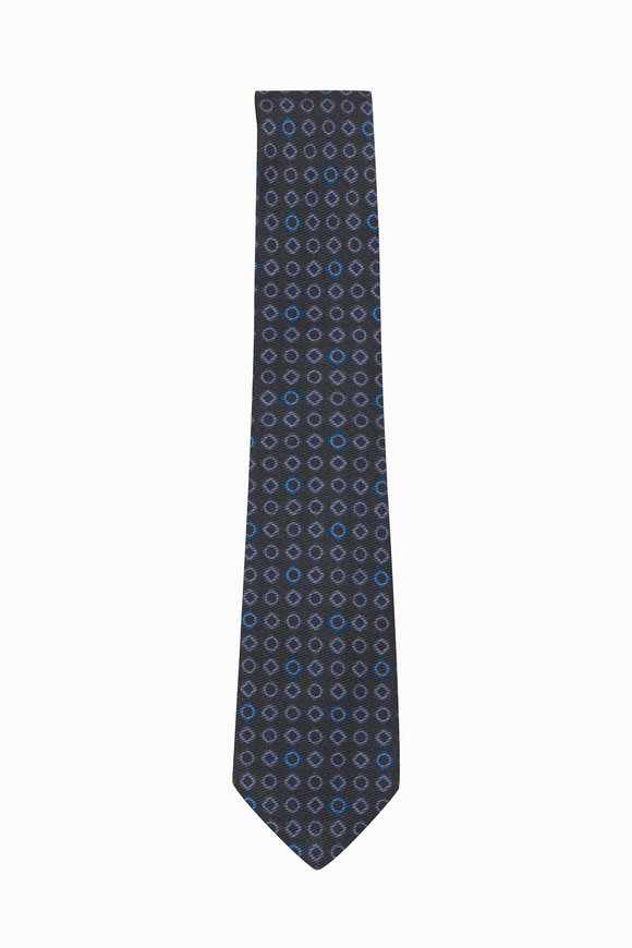 Kiton Navy & Multicolor Wool & Silk Geometric Necktie