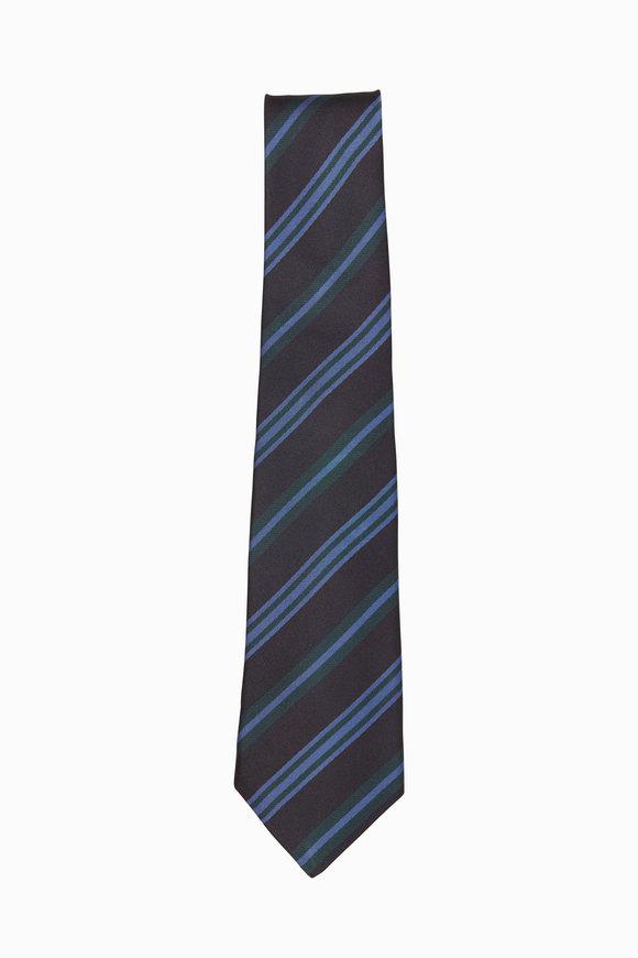 Kiton Black, Blue & Green Striped Necktie