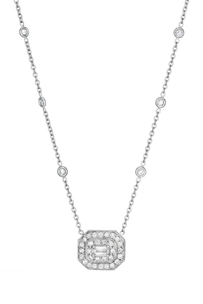 Penny Preville - Pavé Diamond Emerald-Shape Pendant Necklace