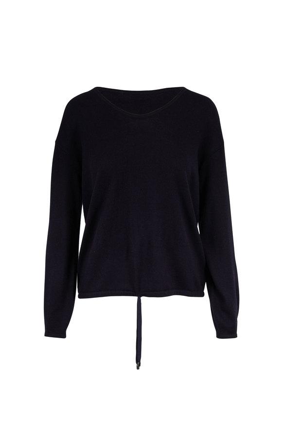 Bogner Paola Navy Blue Wool Drawstring Waist Sweater