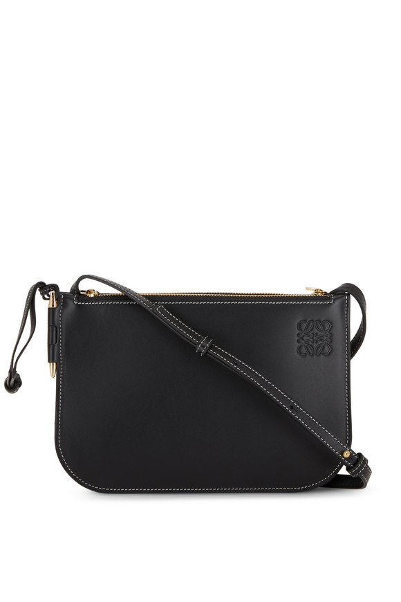 Loewe Gate Double Zip Black Leather Pouch Crossbody