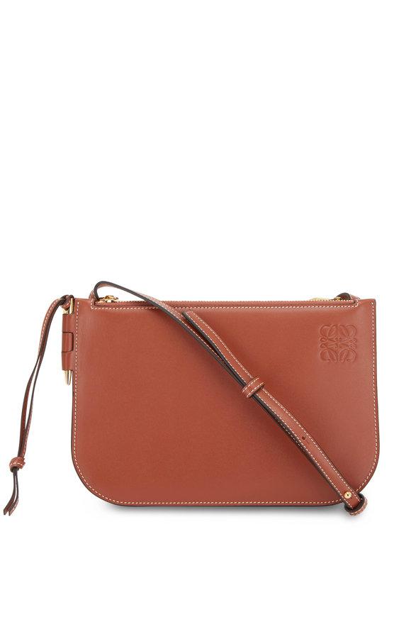 Loewe Gate Double Zip Rust Leather Pouch Crossbody