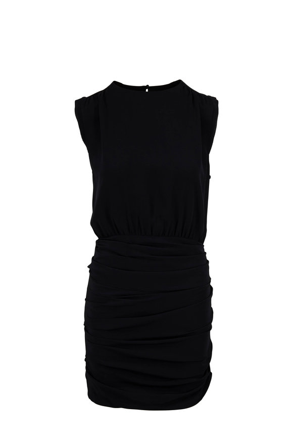 Nili Lotan Delila Black Silk Ruched Sleeveless Dress
