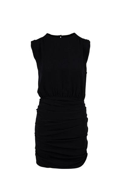 Nili Lotan - Delila Black Silk Ruched Sleeveless Dress